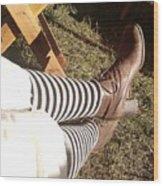 Black And Gray Stockings Wood Print