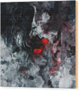 Black And Red Abstract Painting  Wood Print