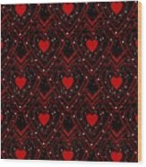 Black And Red Hearts Wood Print