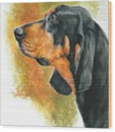 Black And Tan Coonhound Wood Print