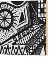 Black And White 15 Wood Print