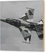 Black And White 18th Aggressor Sqn Viper Topside Against The Grey Wood Print