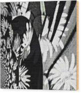 Black And White Abstract Floral Wood Print