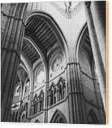 Black And White Almudena Cathedral Interior In Madrid Wood Print