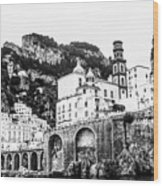 Black And White Amalfi Wood Print