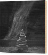 Black And White Balanced Stones Wood Print