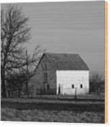 Black And White Barn Ll Wood Print