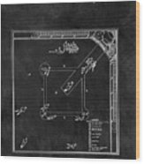 Black And White Baseball Game Patent Wood Print