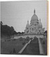 Basilique Du Sacre Coeur In Pre Dawn Paris Bw Wood Print