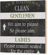 Black And White Bathroom Rules Wood Print