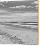 Black And White Beach Wood Print