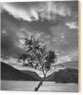 Black And White Beautiful Landscape Image Of Llyn Padarn At Sunr Wood Print