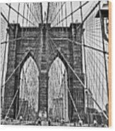 Black And White Brooklyn Bridge Wood Print
