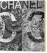 Black And White Chanel Art Wood Print