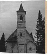 Black And White Church In Williston North Dakota. Wood Print