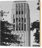 Black And White Clock Tower Wood Print