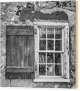 Black And White Cottage Window Wood Print