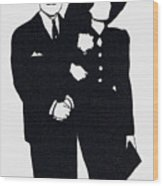 Black And White Couple Wood Print