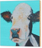 Black And White Cow On Blue Background Wood Print