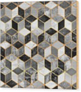 Black And White Cubes Wood Print