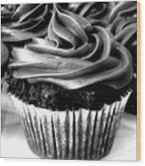 Black And White Cupcakes Wood Print