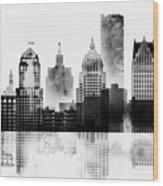 Black And White Detroit Wood Print