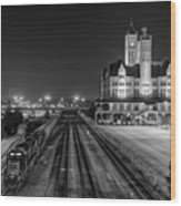 Black And White Fine Art Print Of Union Station In Nashville, Tennessee Wood Print