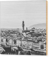 Black And White Florence Italy Wood Print