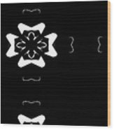 Black And White Flower Abstract Wood Print