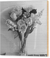 Black And White Flowers Wood Print