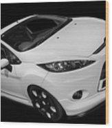 Black And White Ford Fiesta Wood Print