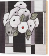 Black and White Funny Flowers Wood Print