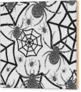 Black And White Halloween Wood Print