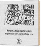 Black And White Hanuman Chalisa Page 36 Wood Print