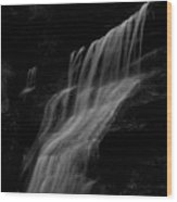 Black And White Hidden Falls Wood Print