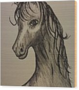 Black And White Horse Wood Print by Ginny Youngblood