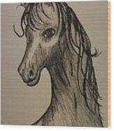 Black And White Horse Wood Print