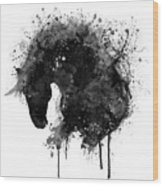 Black And White Horse Head Watercolor Silhouette Wood Print