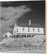 Black And White Image Of A House In New England In Infrared Wood Print