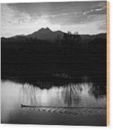 Black And White Lake Sunset Wood Print