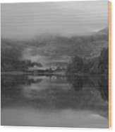 Black And White Landscape Of Llyn Crafnant During Foggy Autumn M Wood Print