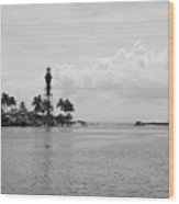 Black And White Lighthouse Wood Print
