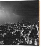 Black And White Lighting Over Kansas City Wood Print