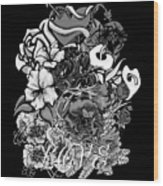 Black And White Love Bouquet Wood Print