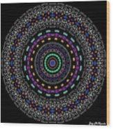 Black And White Mandala No. 4 In Color Wood Print