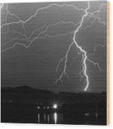 Black And White Massive Lightning Strikes Wood Print