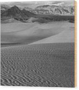 Black And White Mesquite Sand Dunes Wood Print