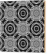 Black And White Modern Roses- Pattern Art By Linda Woods Wood Print