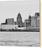 Black And White Motor City Pano Wood Print