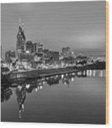 Black And White Of Nashville Tennessee Skyline Sunrise  Wood Print